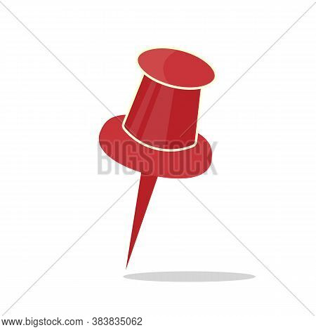 Red Push Pin Isolated, Vector Illustration With Shadow