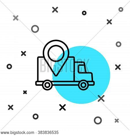 Black Line Delivery Tracking Icon Isolated On White Background. Parcel Tracking. Random Dynamic Shap