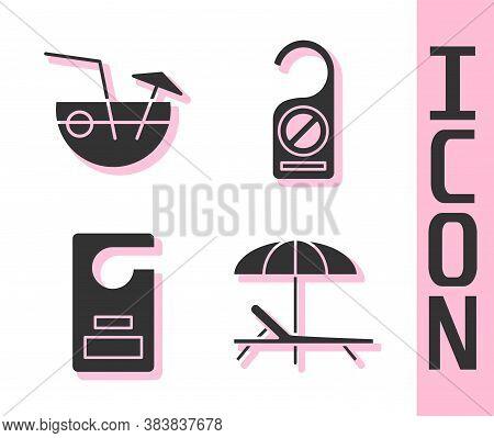 Set Sunbed And Umbrella, Coconut Cocktail, Please Do Not Disturb And Please Do Not Disturb Icon. Vec