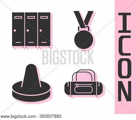 Set Sport Bag, Locker Or Changing Room, Mallet For Playing Air Hockey And Medal Icon. Vector