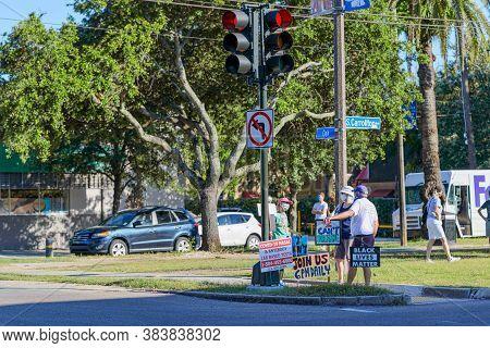 New Orleans, Louisiana/usa - 6/13/2020; Demonstrators Gathering At Corner Of S. Carrollton And Oak S