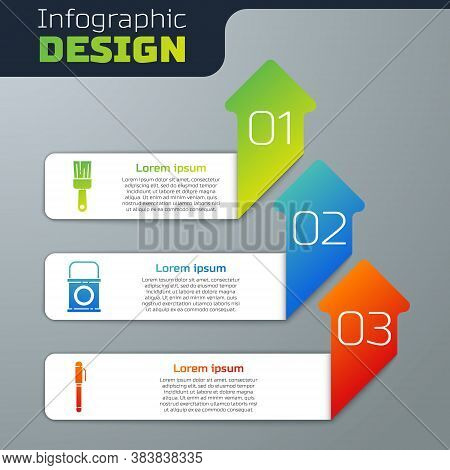 Set Paint Brush, Paint Bucket And Pen. Business Infographic Template. Vector
