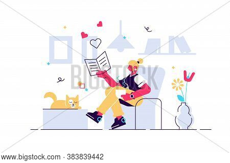 Woman With Cat Vector Illustration. Flat Tiny Cosy Room Pet Person Concept. Comfortable Evening Rout