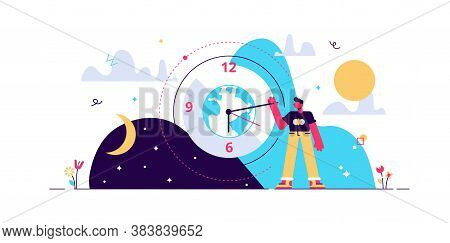 Daytime Cycle Tiny Person Flat Vector Illustration. Natural Planet Movement Around The Sun. Daily Mo