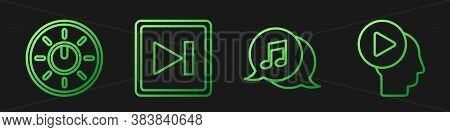 Set Line Musical Note In Speech Bubble, Dial Knob Level Technology Settings, Fast Forward And Head P