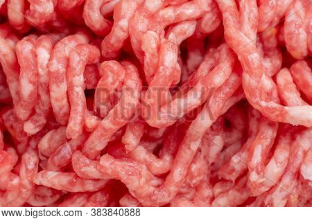 Close-up Of Minced Pork And Beef Rolled In A Meat Grinder, Minced Meat For Cooking. Healthy Food Con