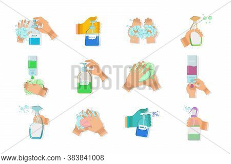 Disinfectant Bottle And Disinfection Spray And Wet Wipe Disinfection. Soap,antiseptic Gel And Other