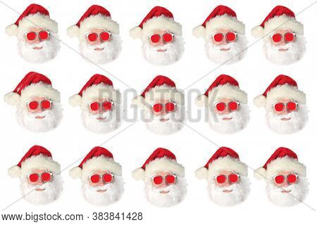 Santa Claus. Christmas Theme. Santa Claus Wearing Red Sunglasses. Isolated On White. Gift Wrapping Paper or Wall Paper Pattern. Clipping Path.