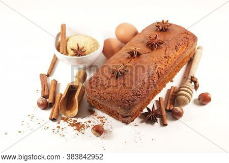 homemade gingerbread cake with spice and ingredient