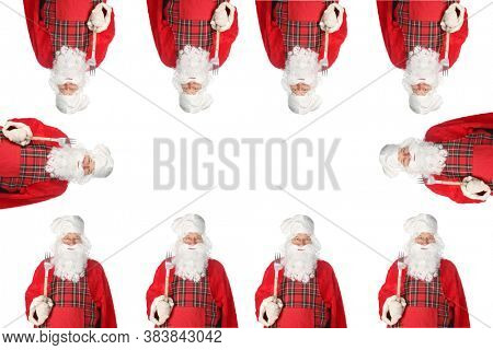 Santa Claus. Christmas Theme. Santa Claus Repeating Pattern. Room for text or images. Wall Paper, Wrapping Paper or Business Card Design. Clipping Path.