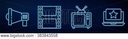 Set Line Retro Tv, Megaphone, Play Video And Laptop With Star. Glowing Neon Icon On Brick Wall. Vect
