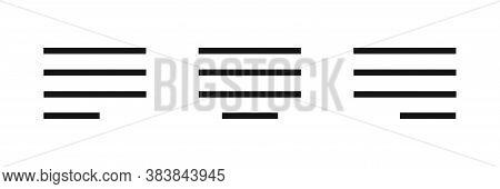 Alignment Sign Symbol. Align Lines Icon. Eps 10.