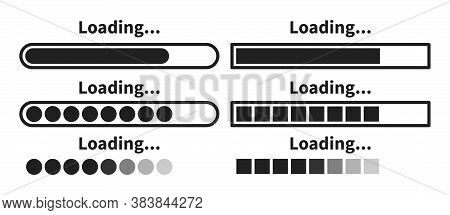 Loading Bar Icon Set. Vector Load Progress Indicator Symbol Collection.