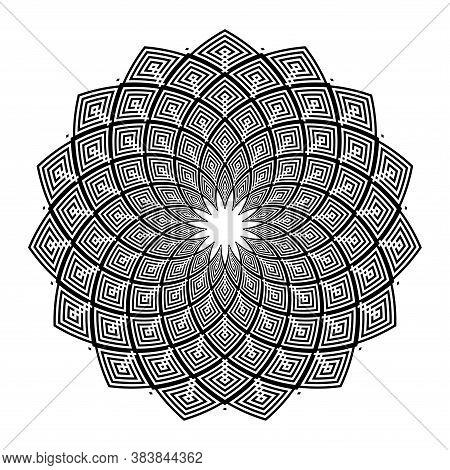 Abstract Geometric Circle Rotation Pattern.  Decorative Design Element. Vector Art.