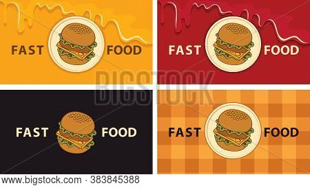 A Set Of Business Cards With A Tasty Burgers For A Fast Food Restaurant. Vector Illustration With A