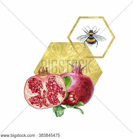 Pomegranate Fruit And Bee Arrangement With Golden Geometric Decor. Hand Drawn Floral Watercolor Illu
