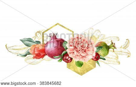 Peony And Pomegranate Fruit And Flower Watercolor Arrangement. Hand Drawn Floral Illustration With B