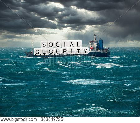 Social Security Letters Carried On Freight Ship In Stormy Seas As Concept For Issues Around Funding