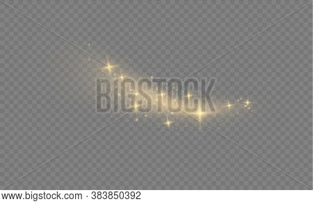 Yellow Dust Yellow Sparks And Golden Stars Shine With Special Light.sparkling Magic Dust Particles.c