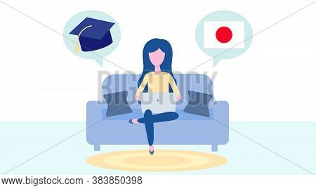 Online Japanese Learning, Distance Education, Learn Concept. Language Training And Courses. Woman St