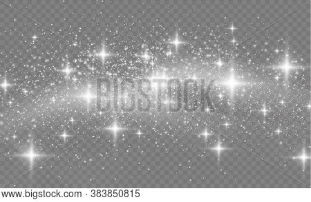 Sparkling Magical Dust Particles. Star Dust Sparks In An Explosion. White Sparks Glitter Special Lig