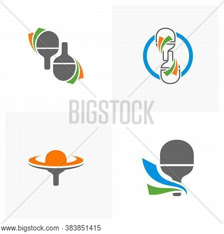 Set Of Table Tennis Logo Design Concepts. Sport Labels Vector Illustration For Ping Pong Club