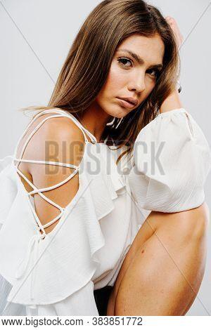 Beautiful woman model posing in studio
