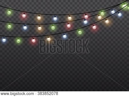 Colorful Glow Light Lamp On Wire Strings Isolated Transparent Background. Garlands Decorations. Chri