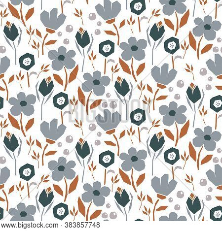 Bold Abstract Seamless Pattern With Flowers And Leaves On A White Background. Blue Neutral Floral Pa