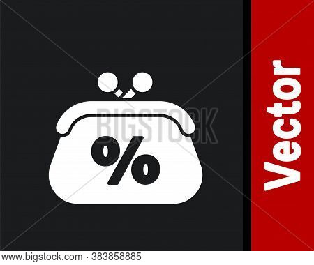 White Purse Money Percent Icon Isolated On Black Background. Percent Loyalty Wallet Sign. Vector Ill