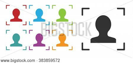 Black Face Recognition Icon Isolated On White Background. Face Identification Scanner Icon. Facial I