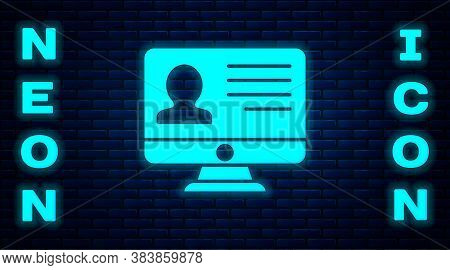Glowing Neon Computer Monitor With Resume Icon Isolated On Brick Wall Background. Cv Application. Se