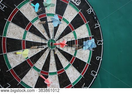 Darts Target Closeup. Success Hitting Target Aim Goal Achievement Concept