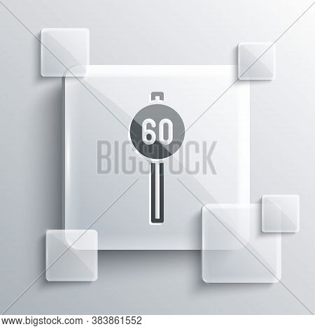 Grey Speed Limit Traffic Sign 60 Km Icon Isolated On Grey Background. Square Glass Panels. Vector