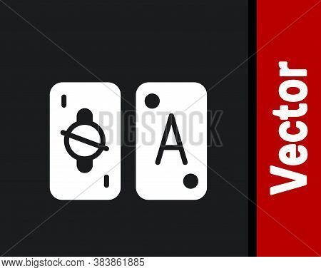 White Tarot Cards Icon Isolated On Black Background. Magic Occult Set Of Tarot Cards. Vector