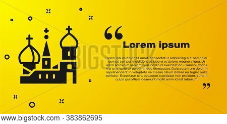 Black Moscow Symbol - Saint Basils Cathedral, Russia Icon Isolated On Yellow Background. Vector