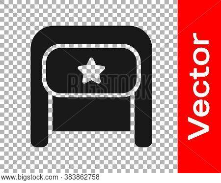 Black Ushanka Icon Isolated On Transparent Background. Russian Fur Winter Hat Ushanka With Star. Sov