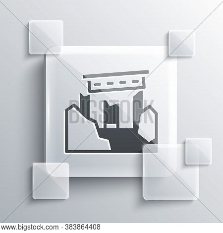 Grey Ancient Ruins Icon Isolated On Grey Background. Square Glass Panels. Vector