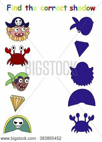 Funny Educational Pirate Game - Find The Correct Shadow Stock Vector Illustration. Shadow Matching V