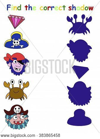Find The Correct Shadow Pirate Game Stock Vector Illustration. Matching Shadow Funny Educational Gam