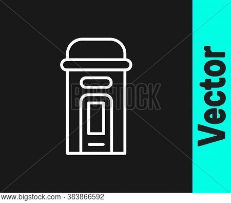 White Line London Phone Booth Icon Isolated On Black Background. Classic English Booth Phone In Lond