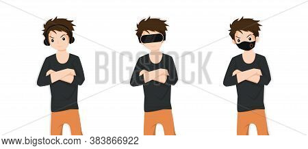Men Covering Ears With Headphones, Eyes With Vr Device And Mouth With Protection Mask As Looking Lik