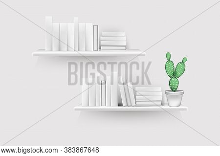 Realistic Book Volumes With Empty Spines And Pot Stand In Row At Rack Hang On Wall.