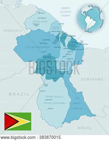 Blue-green Detailed Map Of Guyana Administrative Divisions With Country Flag And Location On The Glo