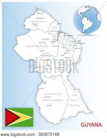 Detailed Guyana Administrative Map With Country Flag And Location On A Blue Globe.