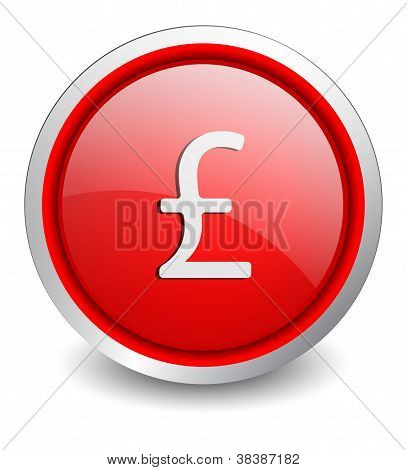 Pound red button - design web icon