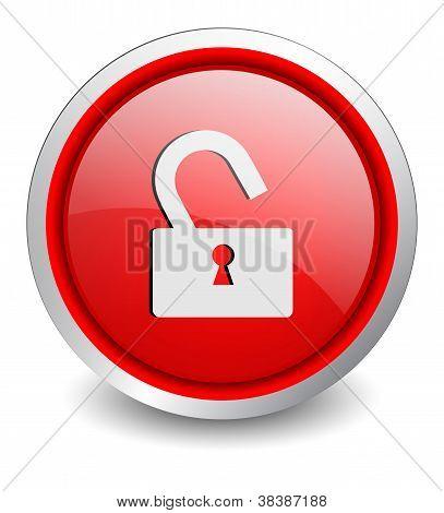 Lock open red button - design web icon