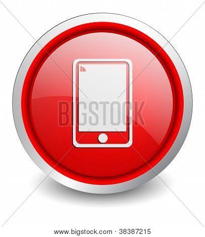mobile phone red button - design web icon