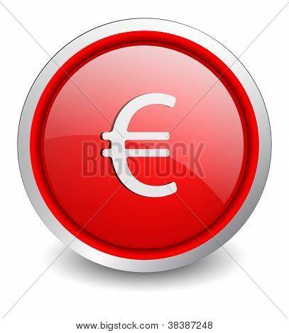 Euro red button - design web icon