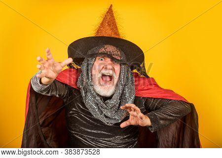 A Real Witch In Disguise. Halloween Decoration And Scary Concept. 31 October. Gothic Man In Hallowee